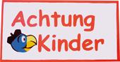 Globi Strassenwarntafel Achtung Kinder eckig mit Kopf