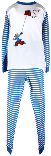Globi Pyjama Langarm Streifen blau 110/116