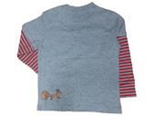 Glöbeli Langarm T-Shirt grau / rot gestreift 98/104