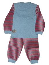 Glöbeli Langarm Pyjama grau/rot gestreift 98/104, Umschlag gross anzeigen
