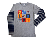 Globi Langarm-Shirt modern grau/blau 122/128
