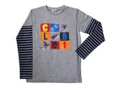 Globi Langarm-Shirt modern grau/blau 134/140