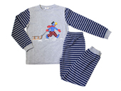 Globi Langarm Pyjama Schlitten grau/blau gestreift 98/104