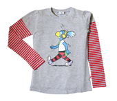 Globine Langarm-Shirt grau/rot gestreift Kopfhörer 98/104