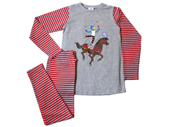 Globine Pyjama grau/rot gestreift Zirkuspferd 122/128