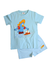 Glöbeli Shorty Pyjama hellblau Segelschiff 86/92