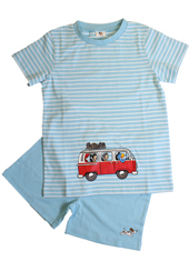 Globi Shorty Pyjama hellblau VW-Bus 122/128