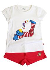 Globine Shorty Pyjama rot/weiss Globine schlafend 122/128
