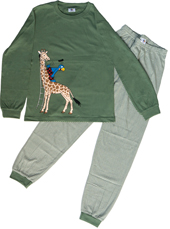 Globi Pyjama oliv/weiss gestreift Giraffe 110/116, Umschlag gross anzeigen