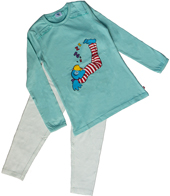 Globine Pyjama langarm türkis/weiss gepunktet 98/104