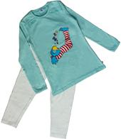 Globine Pyjama langarm türkis/weiss gepunktet 134/140