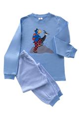 Globi Pyjama hellblau/weiss gestreift Gämse 134/140