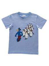 Globi T-Shirt blau/weiss gestreift Pinguin 134/140