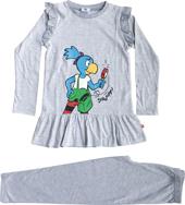 Globine Pyjama langarm hellgrau/weiss gestreift Lupe 122/128, Umschlag gross anzeigen