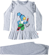 Globine Pyjama langarm hellgrau/weiss gestreift Lupe 134/140