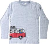 Globi T-Shirt langarm hellgrau/weiss gestreift 134/140 VW-Bus