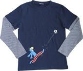 Globi T-Shirt langarm dunkelblau Fussballer 122/128