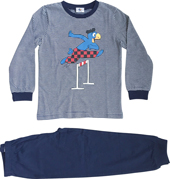 Globi Pyjama dunkelblau gestreift Hürdenläufer 110/116