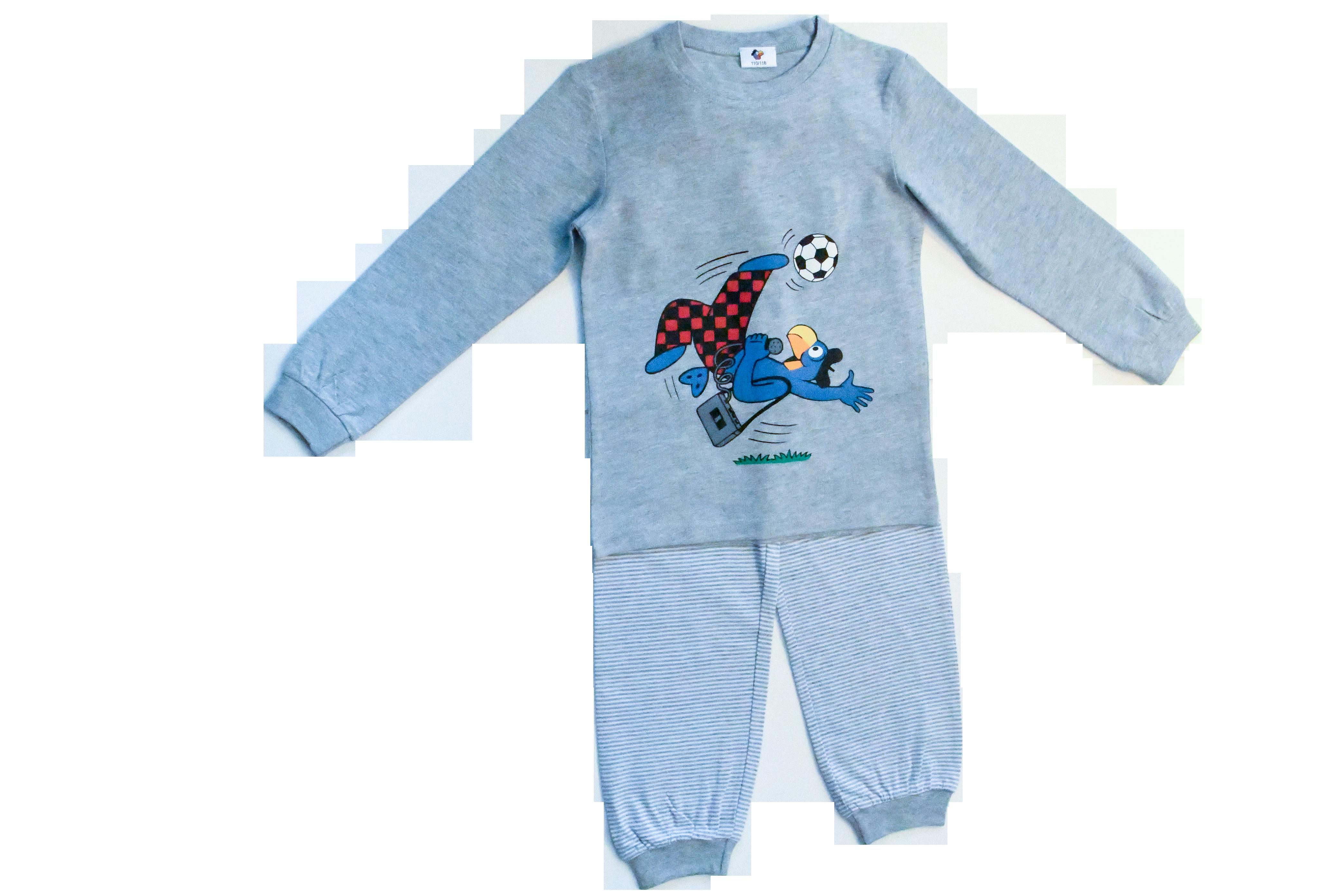 Globi Pyjama grau Fussballer 110/116