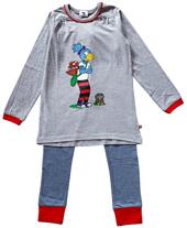 Globine Pyjama langarm grau gestreift 134/140