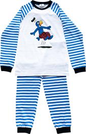 Globi Pyjama weiss/blau gestreift 122/128