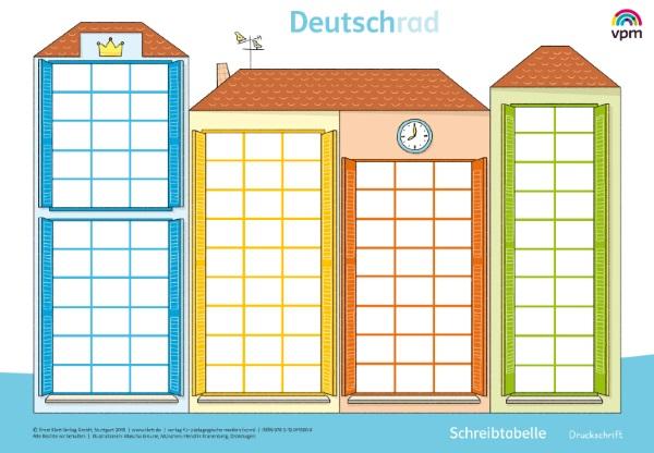 Deutschrad 1 - Poster Schreibtabelle Druckschrift